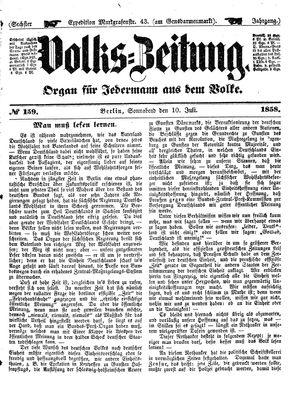 Volks-Zeitung vom 10.07.1858