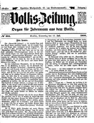 Volks-Zeitung vom 15.07.1858