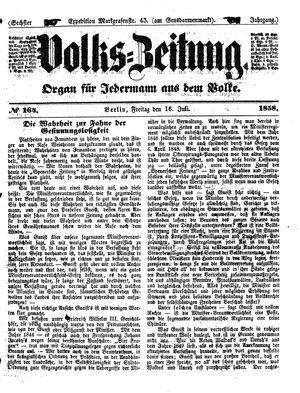 Volks-Zeitung vom 16.07.1858