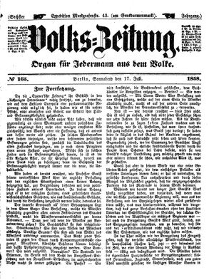 Volks-Zeitung vom 17.07.1858