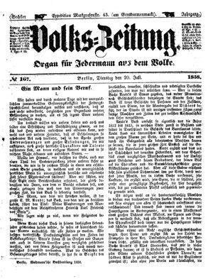Volks-Zeitung vom 20.07.1858