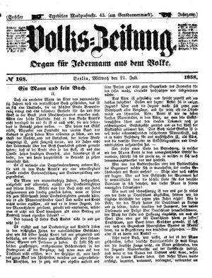 Volks-Zeitung vom 21.07.1858