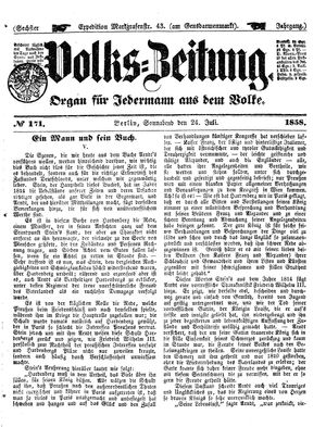 Volks-Zeitung vom 24.07.1858