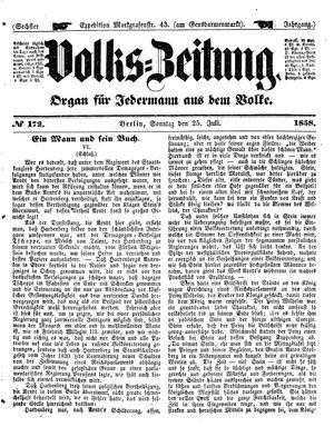 Volks-Zeitung vom 25.07.1858