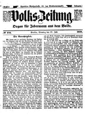 Volks-Zeitung vom 27.07.1858