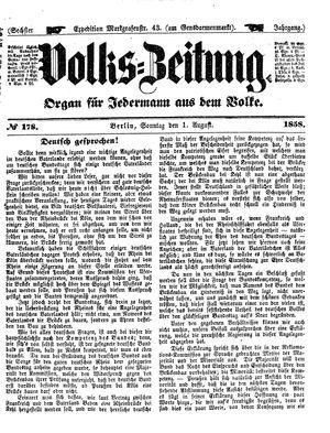 Volks-Zeitung vom 01.08.1858