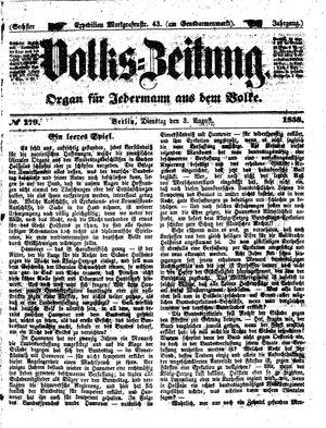 Volks-Zeitung vom 03.08.1858