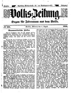 Volks-Zeitung vom 04.08.1858
