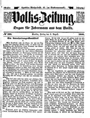 Volks-Zeitung vom 06.08.1858