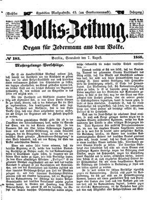 Volks-Zeitung vom 07.08.1858