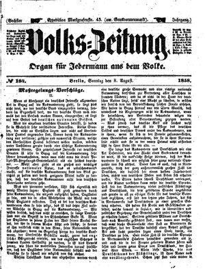 Volks-Zeitung vom 08.08.1858