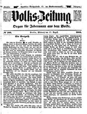Volks-Zeitung vom 11.08.1858