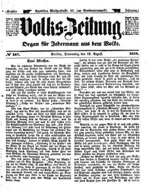 Volks-Zeitung vom 12.08.1858
