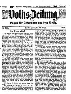 Volks-Zeitung vom 13.08.1858