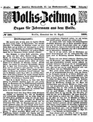 Volks-Zeitung vom 14.08.1858