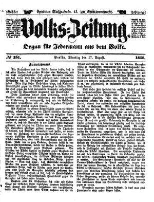 Volks-Zeitung vom 17.08.1858