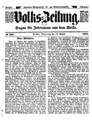 Volks-Zeitung vom 19.08.1858
