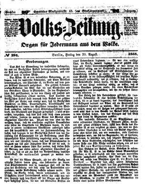 Volks-Zeitung vom 20.08.1858