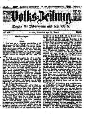 Volks-Zeitung vom 21.08.1858