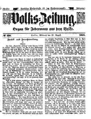 Volks-Zeitung vom 25.08.1858
