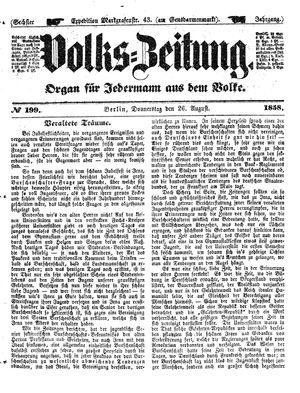 Volks-Zeitung vom 26.08.1858
