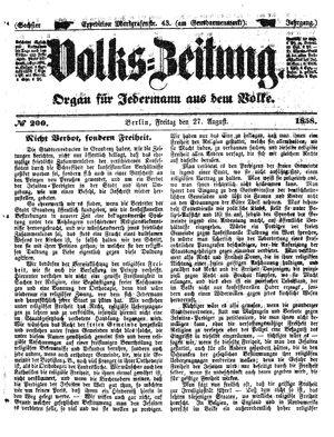 Volks-Zeitung vom 27.08.1858
