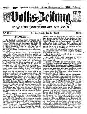 Volks-Zeitung vom 29.08.1858