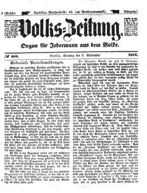 Volks-Zeitung vom 05.09.1858