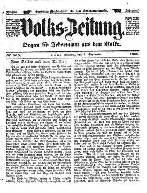 Volks-Zeitung vom 07.09.1858