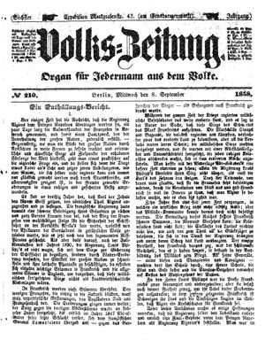 Volks-Zeitung vom 08.09.1858