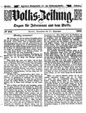 Volks-Zeitung vom 11.09.1858