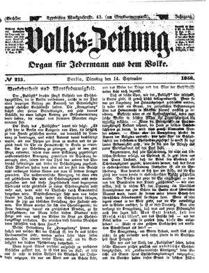 Volks-Zeitung vom 14.09.1858