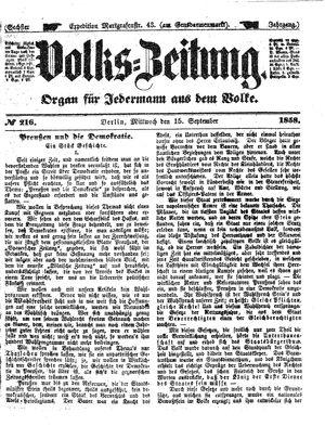 Volks-Zeitung vom 15.09.1858