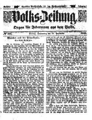 Volks-Zeitung vom 16.09.1858