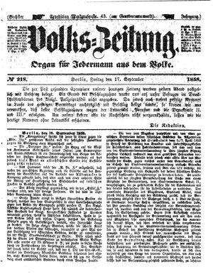 Volks-Zeitung vom 17.09.1858