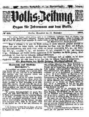 Volks-Zeitung vom 18.09.1858