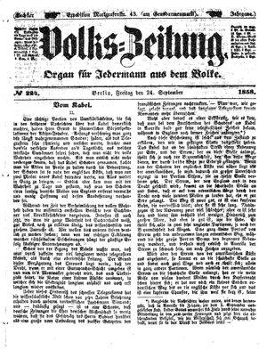 Volks-Zeitung vom 24.09.1858