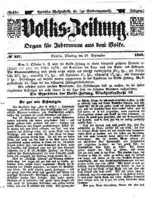 Volks-Zeitung on Sep 28, 1858