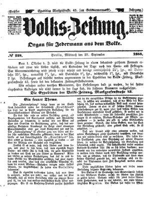 Volks-Zeitung vom 29.09.1858