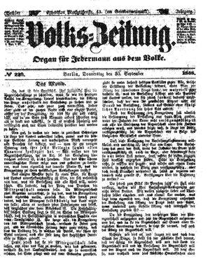 Volks-Zeitung vom 30.09.1858