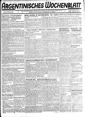 Argentinisches Wochenblatt vom 26.05.1945