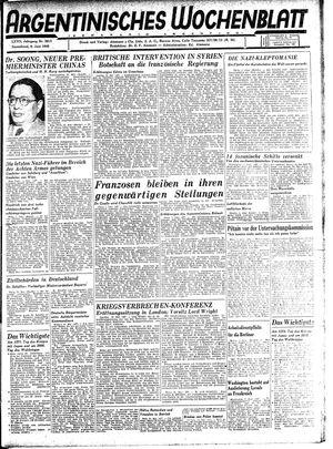 Argentinisches Wochenblatt vom 09.06.1945