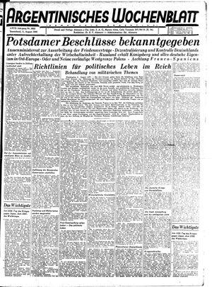 Argentinisches Wochenblatt vom 11.08.1945