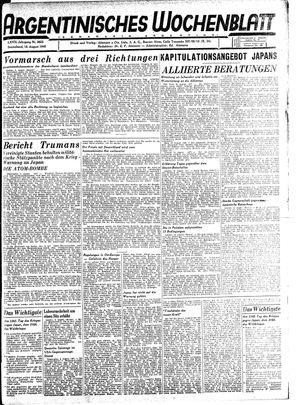 Argentinisches Wochenblatt vom 18.08.1945