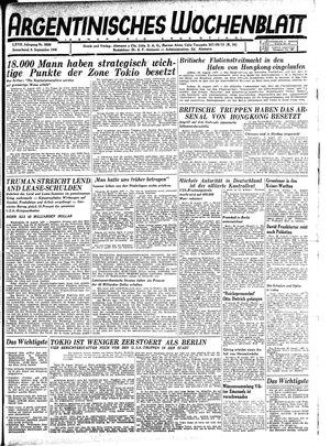 Argentinisches Wochenblatt vom 08.09.1945