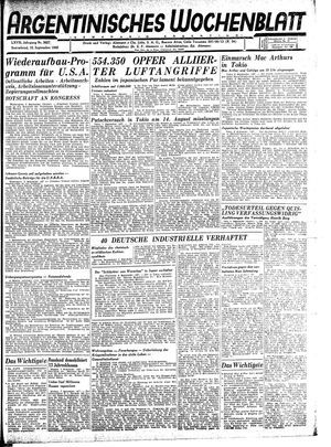Argentinisches Wochenblatt vom 15.09.1945