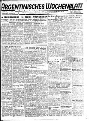 Argentinisches Wochenblatt on Sep 29, 1945