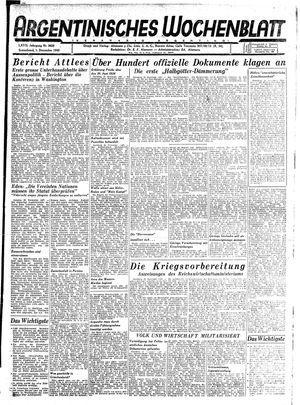 Argentinisches Wochenblatt vom 01.12.1945