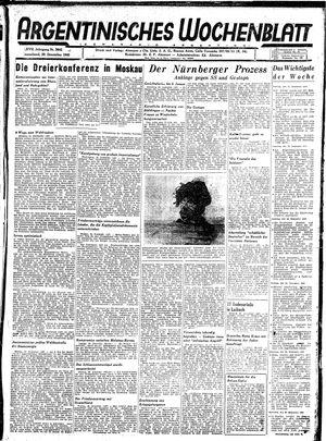 Argentinisches Wochenblatt vom 29.12.1945