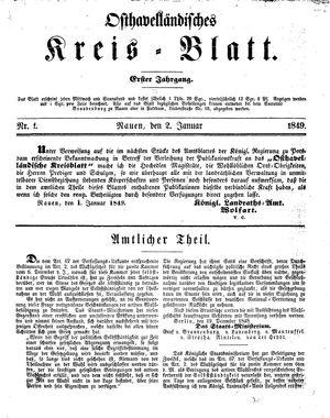 Osthavelländisches Kreisblatt vom 02.01.1849
